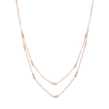 Double Long Rose Gold Necklace with Rose Quartz and Swarovski Crystals