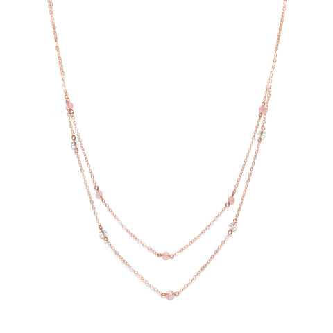Epic Duet Necklace - Long Double Necklace with Rose Gold, Rose Quartz & Swarovski