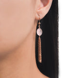 Rose Gold Tassel Earrings with Rose Quartz