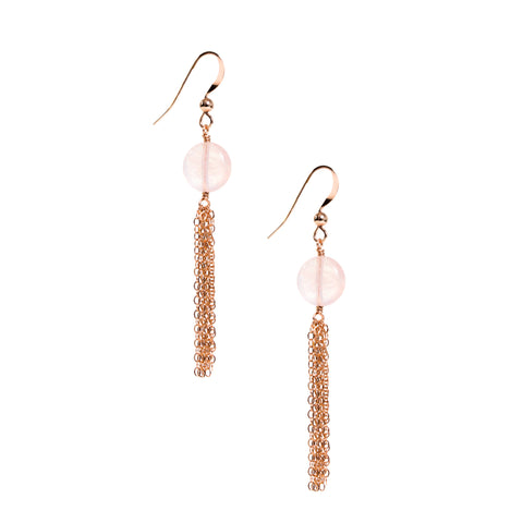 Fringe Earrings - Dangle Earrings with Rose Gold and Rose Quartz