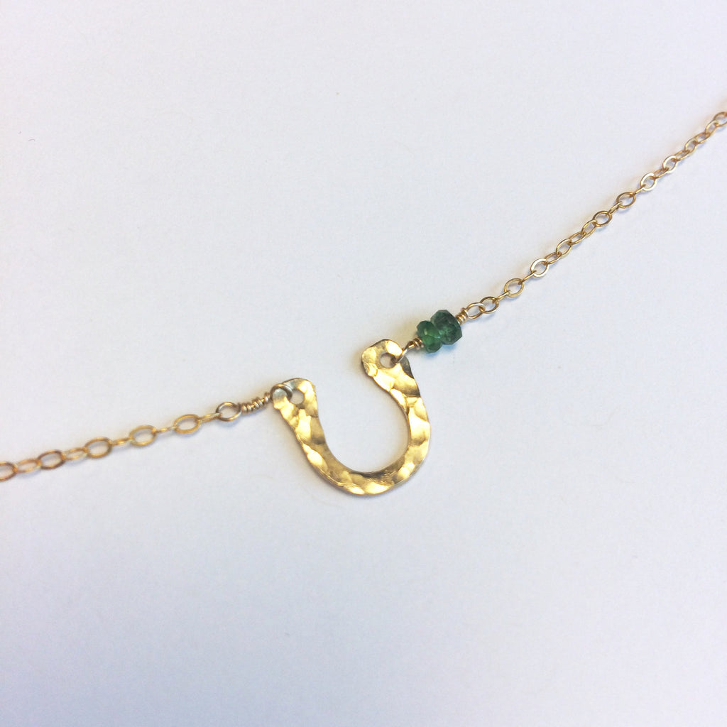 Horseshoe and Emerald Necklace - Gold Filled Charm & Chain with Emeralds.