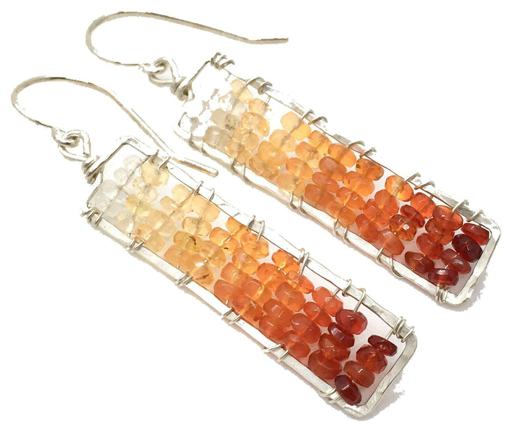 Sunset Statement Gem Dangle Earrings - Hammered Sterling Silver Rectangle Dangle Earrings with Ombre Fire Opal