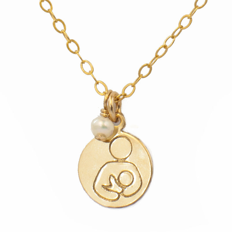 Breastfeeding Support Necklace - Gold with Akoya Pearl