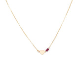 Gold Heart Necklace with Red Rubies