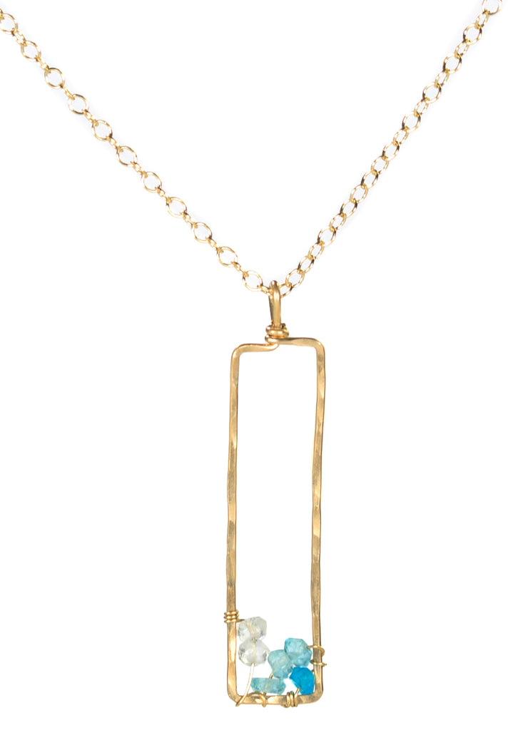 Sunset Gem Necklace - Gold Necklace with Rectangle Ombre Blue Apatite & Aquamarine Pendant