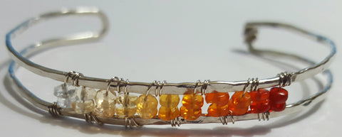 Sunrise Gem Bangle - Sterling Silver Bangle with Ombre Fire Opal