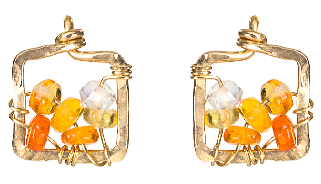 Dawn Gem Earrings - Gold Square Stud Earrings With Ombre Fire Opal