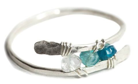 Dusk Ring - Sterling Silver Bypass Ring with Ombre Blue Apatite