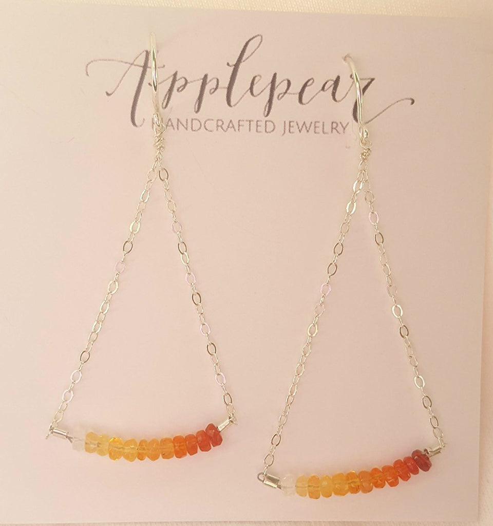 Swing Earrings - Sterling Silver and Fire Opal Earrings