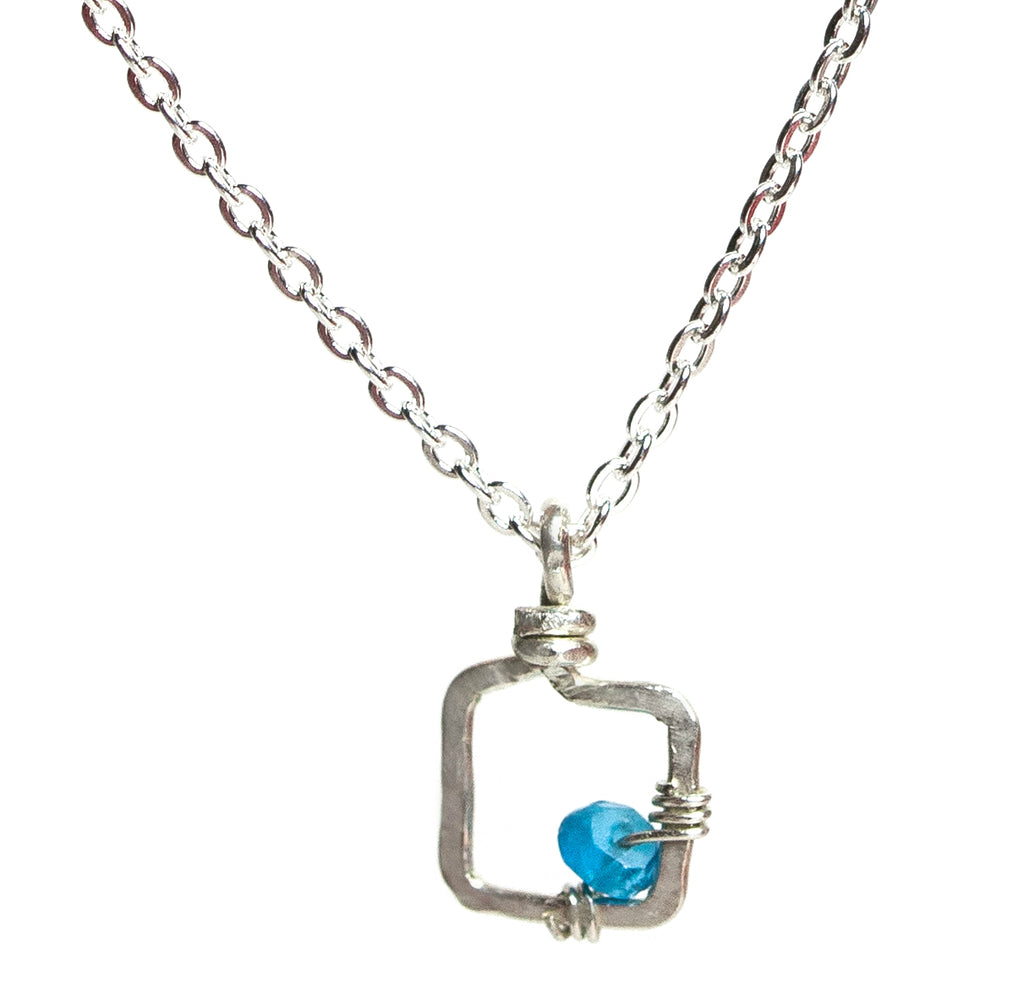 Mini Dawn Gem Necklace - Sterling Silver Necklace with Tiny Square Pendant with Blue Apatite