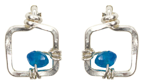 Mini Dawn Gem Earrings - Small Sterling Silver Stud Earrings with Blue Apatite
