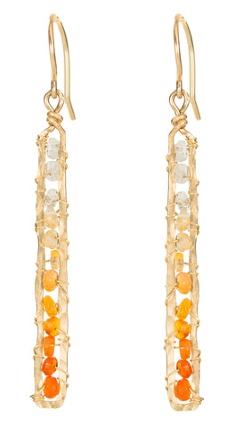 Sunrise Gem Earrings - Gold Rectangle Dangle Earrings with Ombre Fire Opal