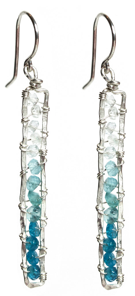 Sunrise Gem Earrings - Sterling Silver Rectangle Dangle Earrings with Ombre Blue Apatite and Aquamarine