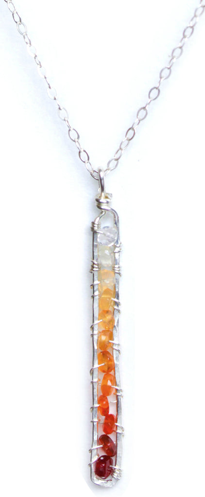 Sunrise Gem Necklace -  Sterling Silver Necklace with Narrow Rectangle Fire Opal Pendant