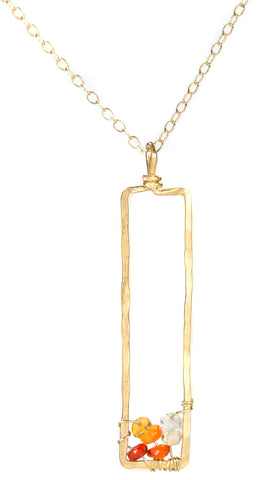 Sunset Gem Necklace - Gold Necklace with Rectangle Fire Opal Ombre Pendant