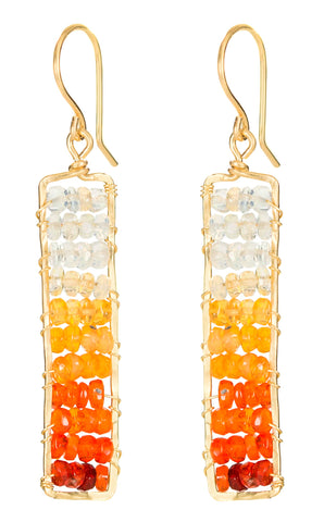 Sunset Statement Gem Dangle Earrings - Hammered Gold Rectangle Dangle Earrings with Ombre Fire Opal