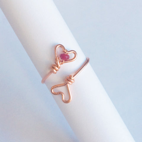 Two Hearts Ring - Rose Gold Adjustable Ring with Red Ruby