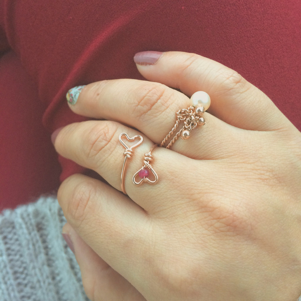 Two Hearts Ring Rose Gold Adjustable Ring with Red Ruby