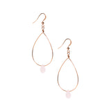 Rose Gold Teardrop Dangle Earrings with Rose Quartz