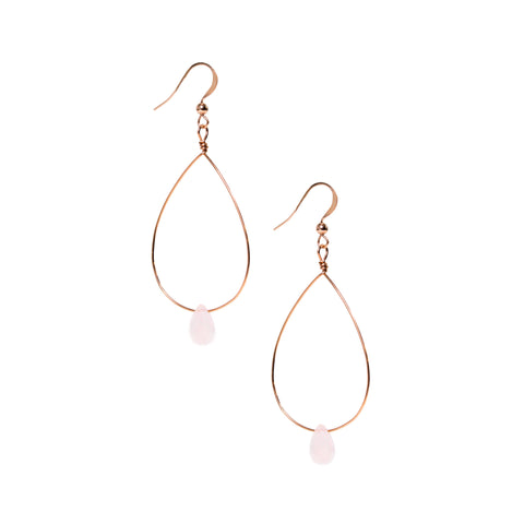 Loop Earrings- Dangle Rose Gold Earrings with Rose Quartz