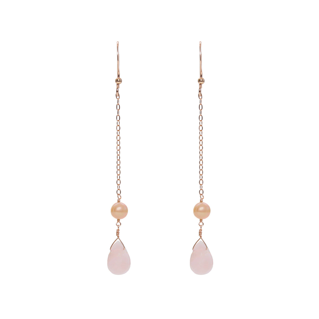 Rose Gold Dangle Earrings with Rose Quartz and Blush Freshwater Pearl
