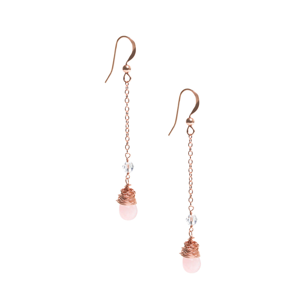 Rose Gold Dangle Earrings with Rose Quartz and Swarovski Crystal