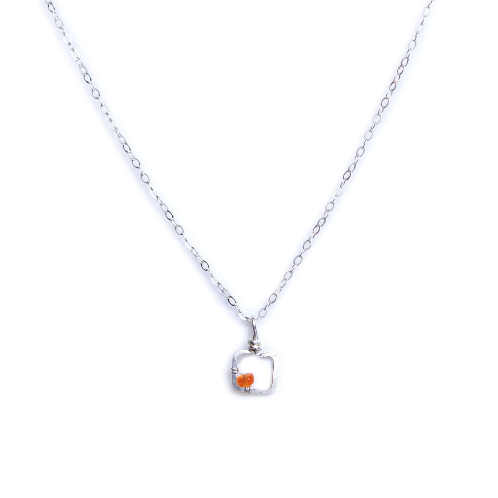 Mini Dawn Gem Necklace - Sterling Silver Necklace with Tiny Square Pendant with Orange Fire Opal