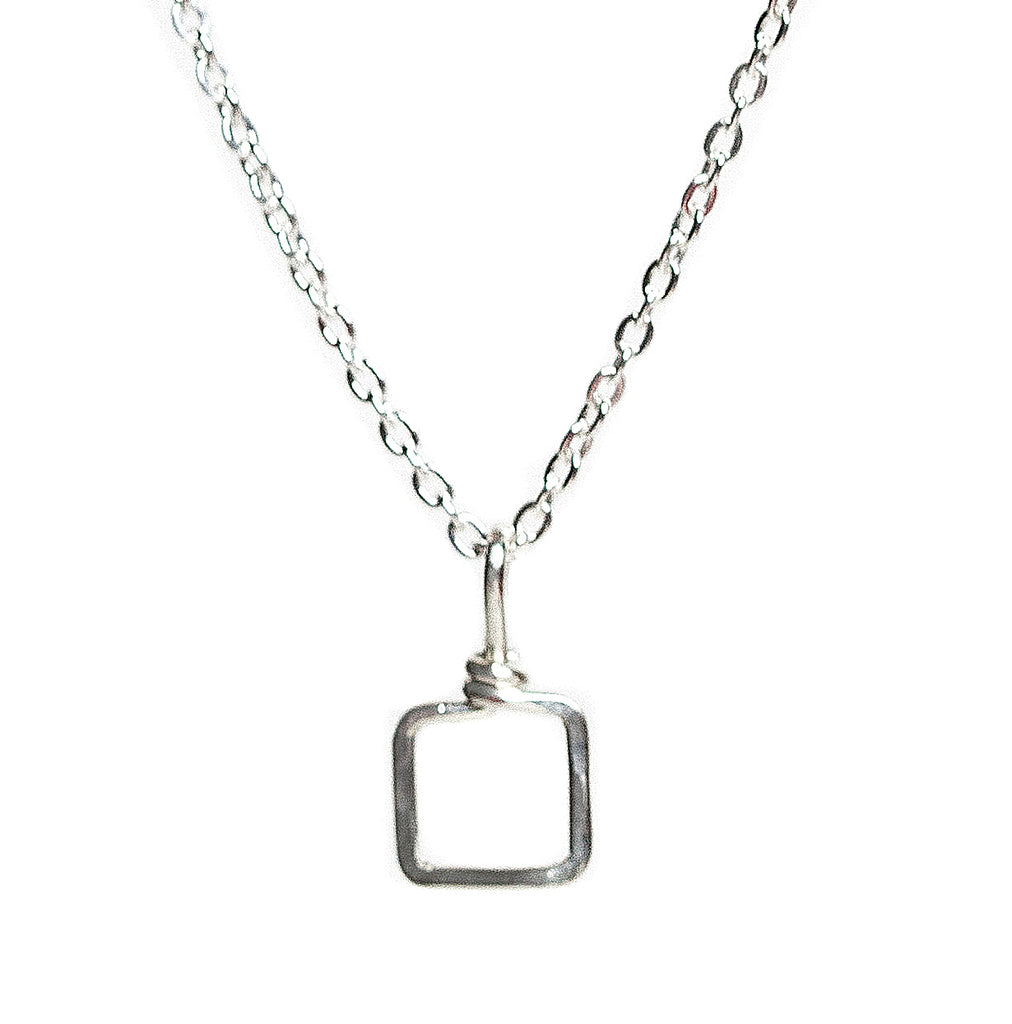 Mini Dawn Necklace - Sterling Silver Necklace with Tiny Square Pendant