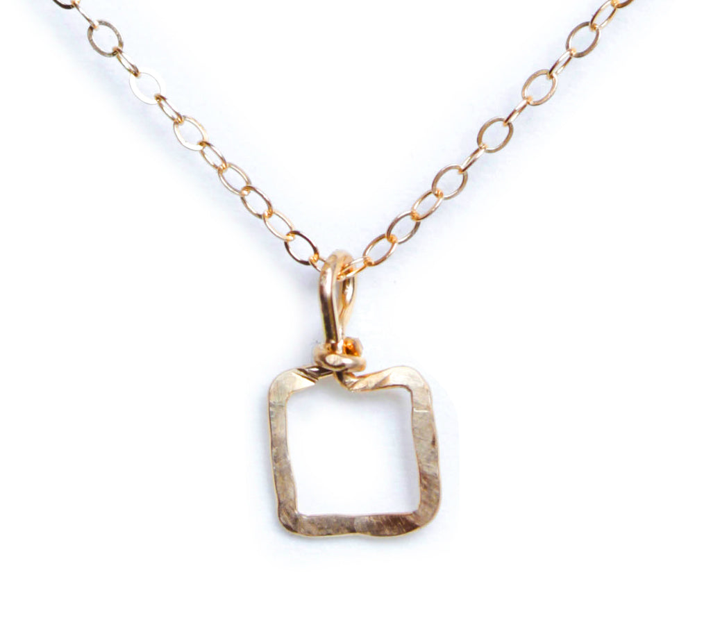 Mini Dawn Necklace - Gold Necklace with Tiny Square Pendant