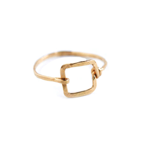 Mini Dawn Ring - Small Geometric Gold Square Ring