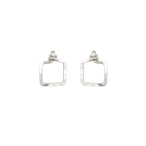 Mini Dawn Earrings - Small Square Sterling Silver Stud Earrings