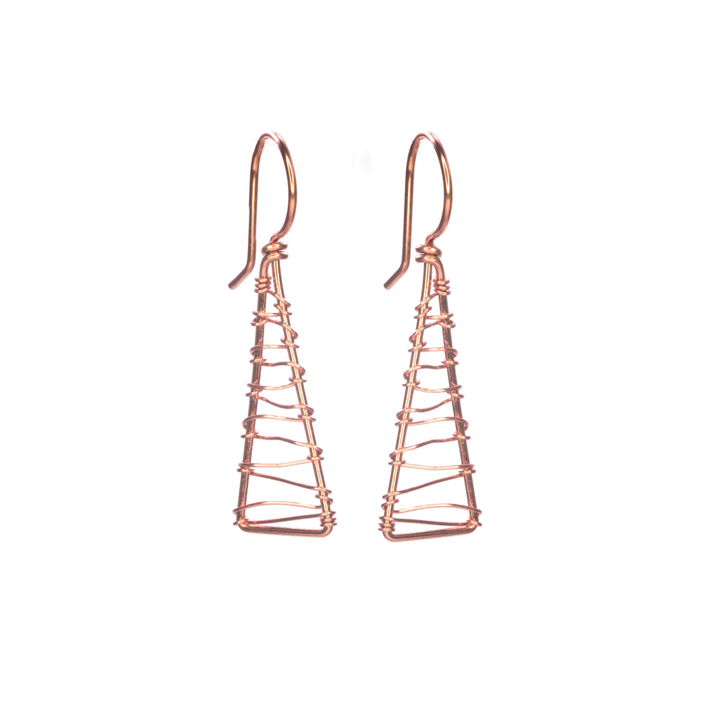 Olympus Woven Dangle Earrings - Rose Gold