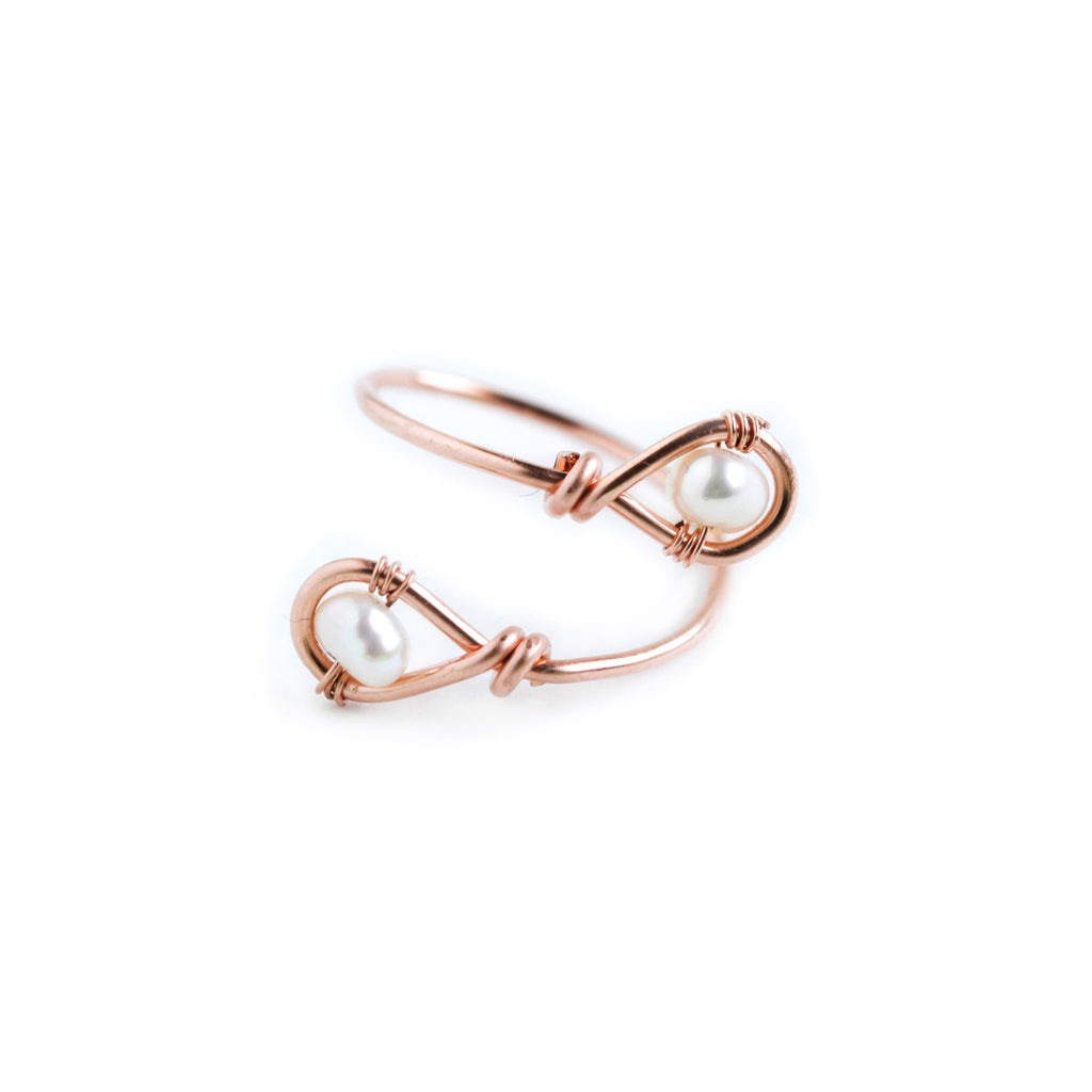 Rain Double Ring - Adjustable Rose Gold Teardrop Ring with Freshwater Pearl