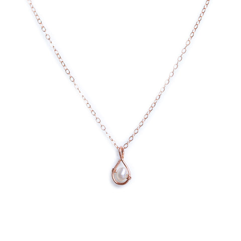 Rain Stud Necklace - Rose Gold with Freshwater Pearl