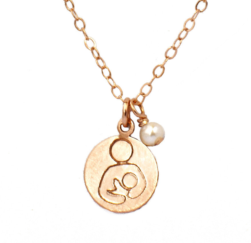 Breastfeeding Support Necklace - Rose Gold with Akoya Pearl