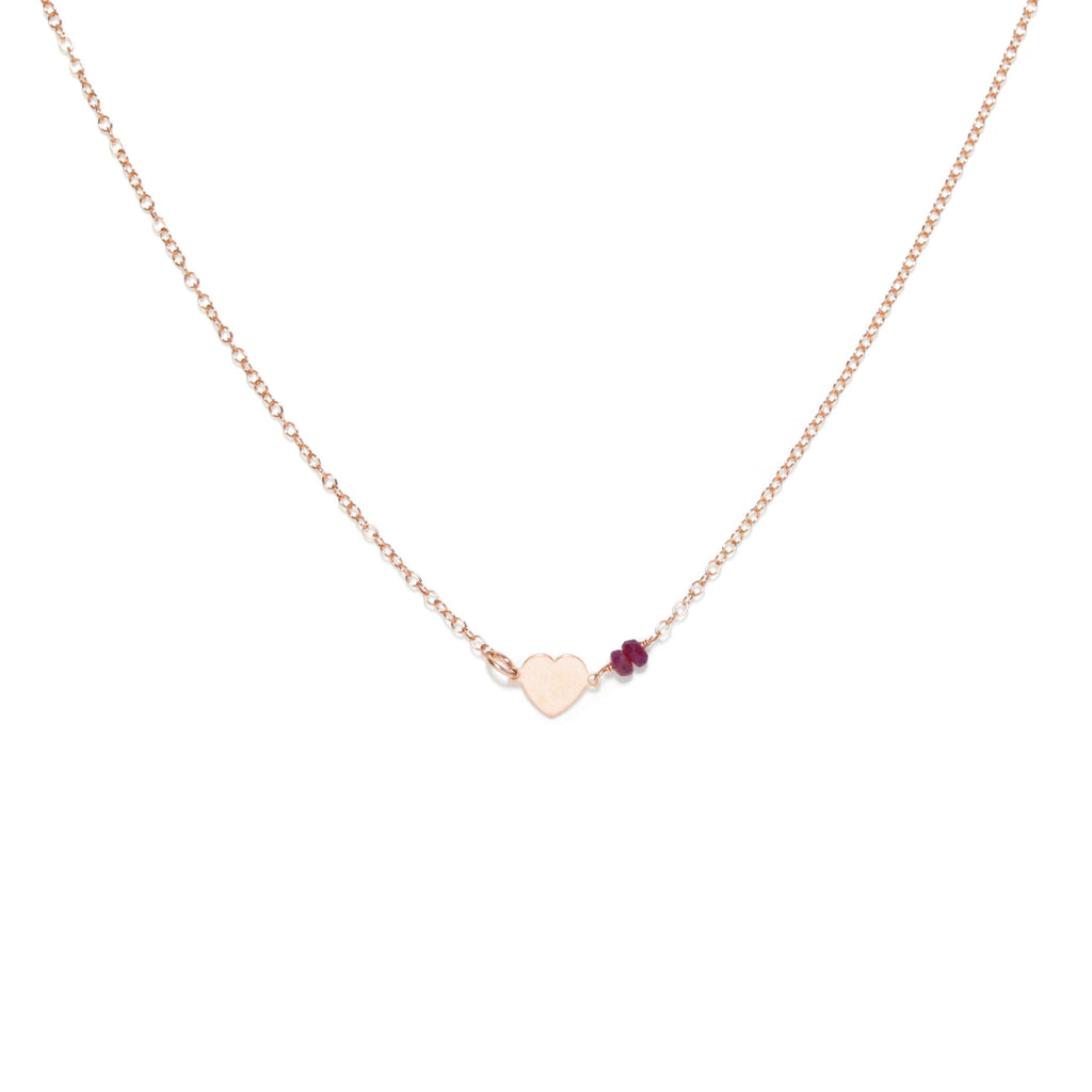 Rose Gold Heart Necklace with Red Rubies