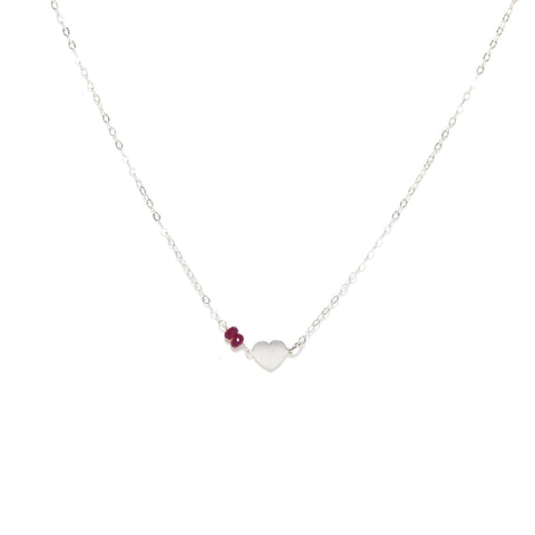 Silver Heart Necklace with Red Rubies