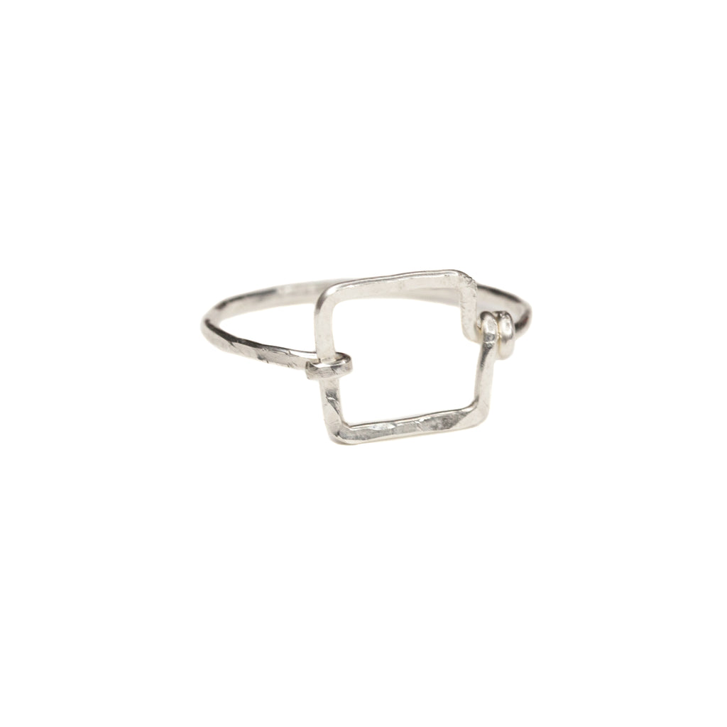 Mini Dawn Ring - Small Geometric Sterling Silver Square Ring