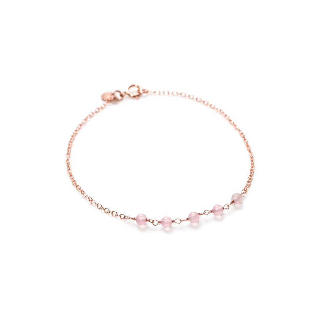 Strand Bracelet - Thin Rose Gold Bracelet with Rose Quartz