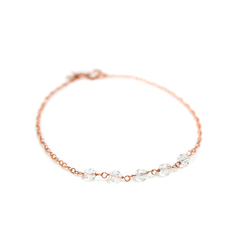 Strand Bracelet - Rose Gold with Swarovski Crystal