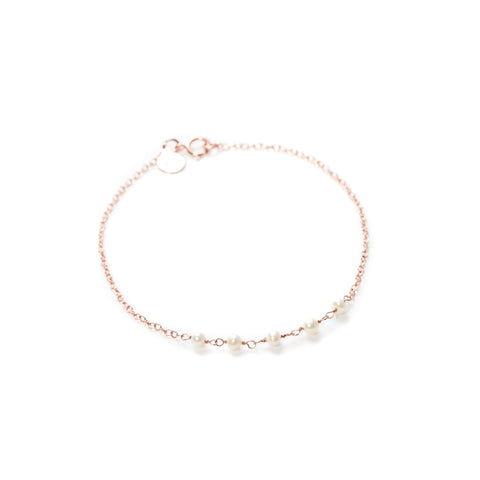 Strand Bracelet - Rose Gold with White Freshwater Pearl