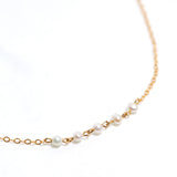 Strand Necklace - Gold with White Freshwater Pearl