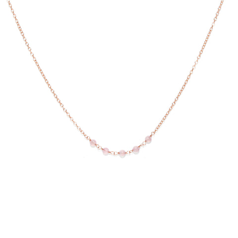 Strand Necklace - Thin Rose Gold Necklace with Rose Quartz