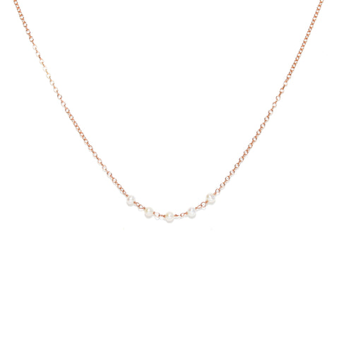 Strand Necklace - Rose Gold with White Freshwater Pearl