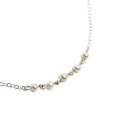 Strand Necklace - Silver with White Freshwater Pearl