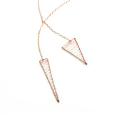 Strawberry Hill Woven Long Necklace - Rose Gold
