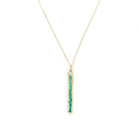 Sunrise Gem Necklace -  Gold Necklace with Narrow Rectangle Green Onyx Pendant