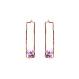 Sunset Gem Earrings - Hammered Rose Gold Rectangle Stud Earrings with Ombre Purple Amethyst