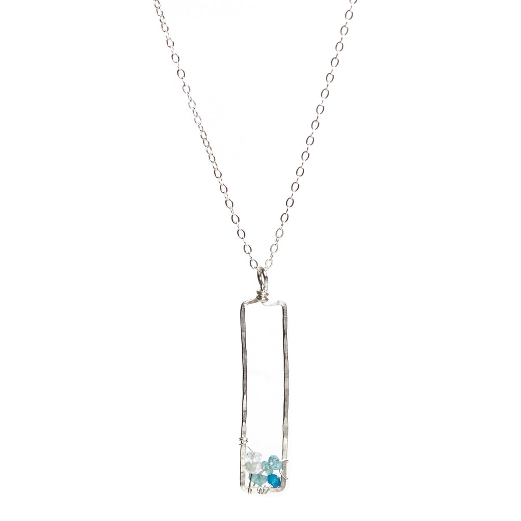 Sunset Gem Necklace - Sterling Silver Necklace with Rectangle Ombre Blue Apatite & Aquamarine Pendant