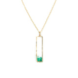 Sunset Gem Necklace - Gold Necklace with Rectangle Green Onyx Pendant